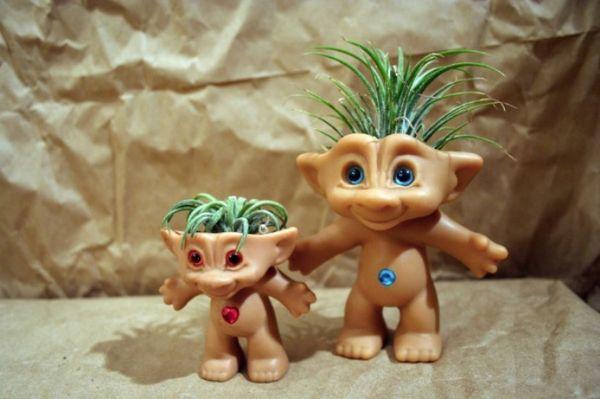 retro toy planters treasure troll air plant pots