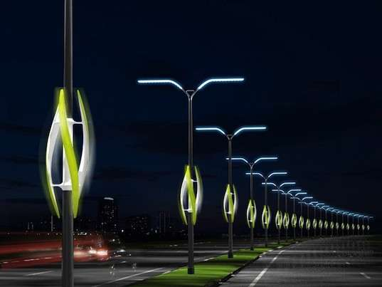Wind-Powered Highway Lamps
