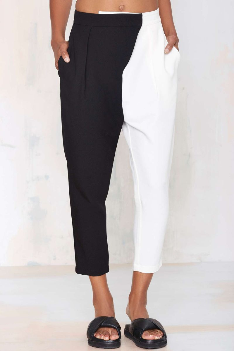 Minimalist Two-Tone Trousers