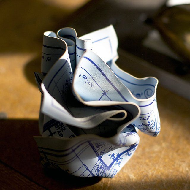 Crumpled Blueprint Paperweights