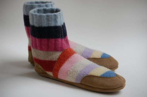 3632988585e Cozy Salvaged Sweaters : Upcycled Sweater Slippers