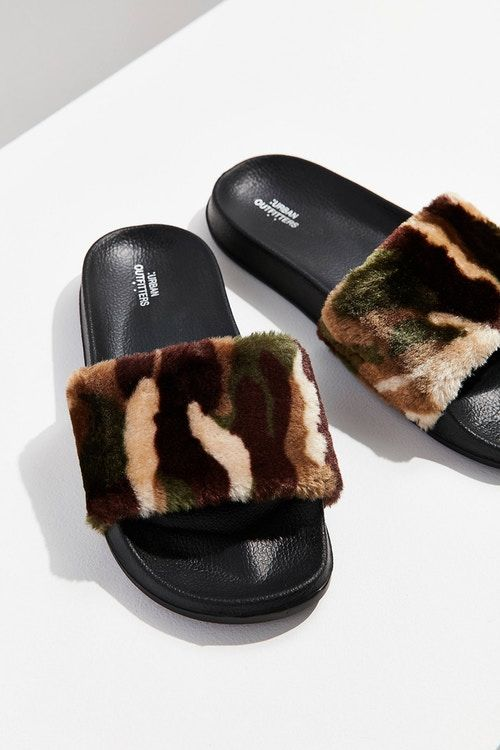 Furry Camouflage Sandals