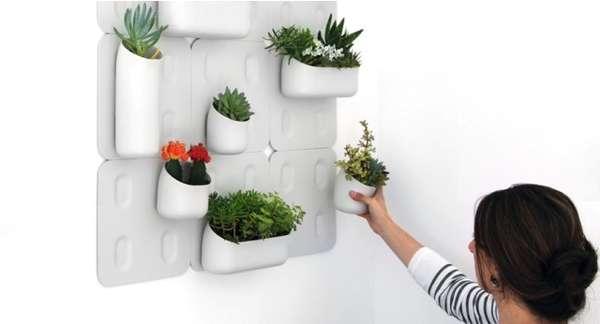 Pixelated Flower Pots Wall Mounted Modular Flowerpots
