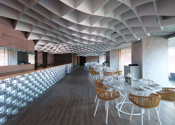 Undulating Grid Ceilings V Ammos Restaurant By Lm