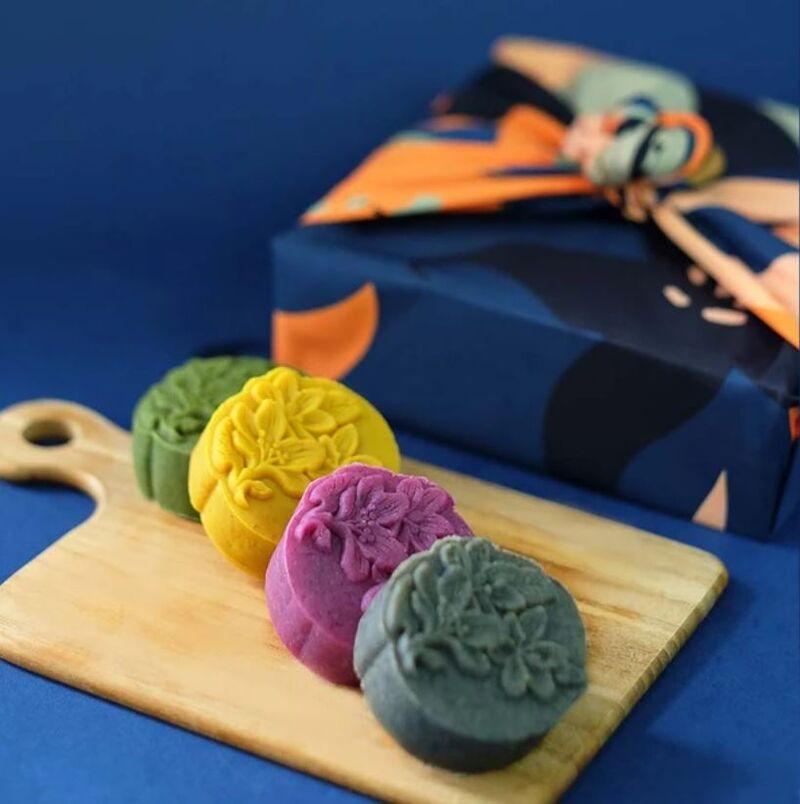 Rainbow-Hued Vegan Mooncakes