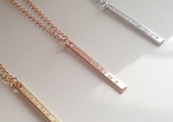 Engraved Coordinate Necklaces