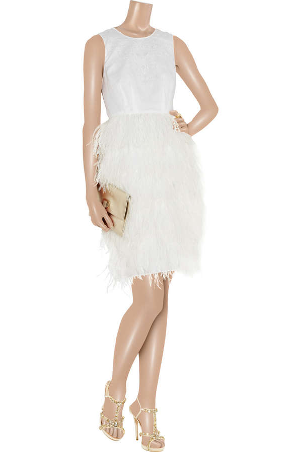 Pristine Plumage Gowns : Victoria Feather-Skirt Dress by J. Crew