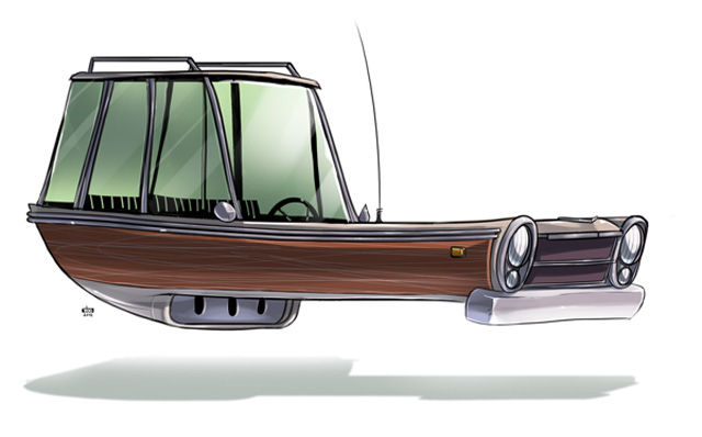 Hovering Vintage Car Illustrations