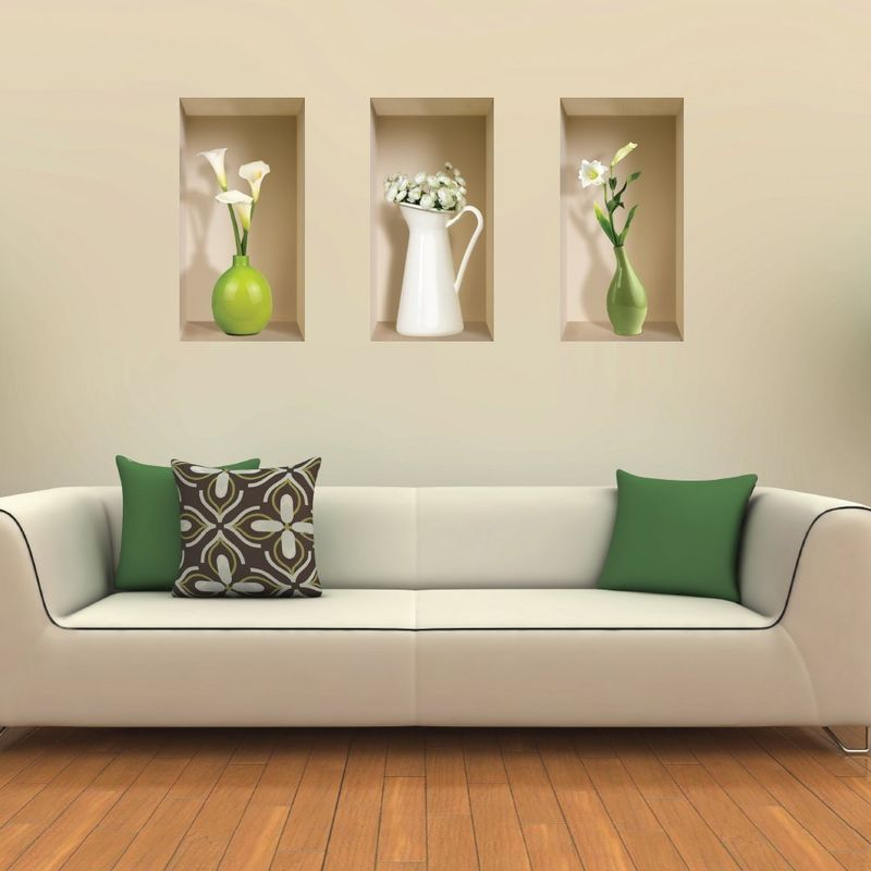 illusionary 3d wall stickers vinyl wall sticker. Black Bedroom Furniture Sets. Home Design Ideas