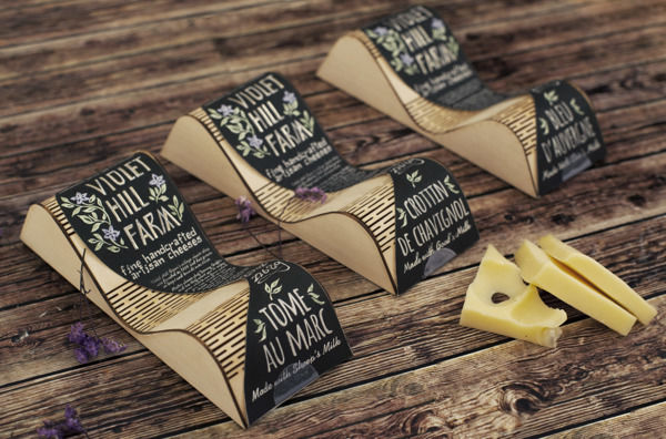 Undulating Dairy Branding Violet Hill Farm Cheese Packaging