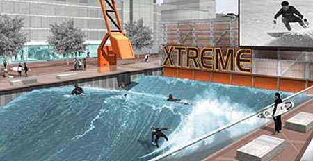 Surf pools 40 million surfer wave machine to launch in london for Swimming pools with slides in london