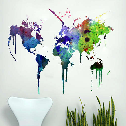 Graffiti travel decals watercolor world map graffiti travel decals gumiabroncs Choice Image