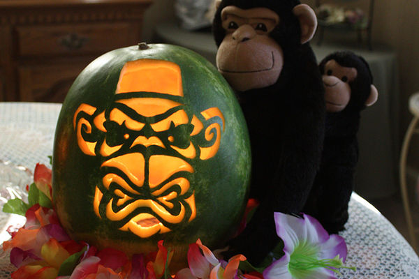 Watermelon Jack-O-Lanterns