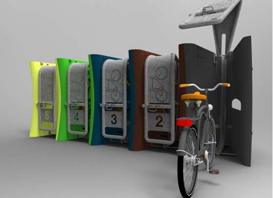 Anti Theft System >> Vertical Bike Lockers : WAVE by Joe Mattley