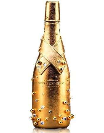 Lambskin and Gold Champagne Bottles