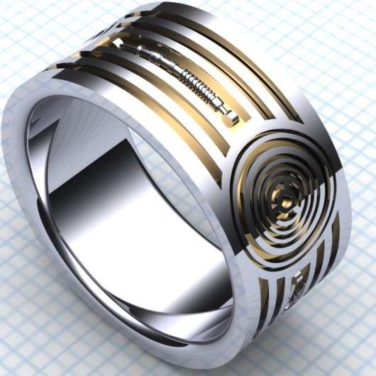 droid inspired wedding bands this c3p0 wedding band matches an r2d2 engagement ring