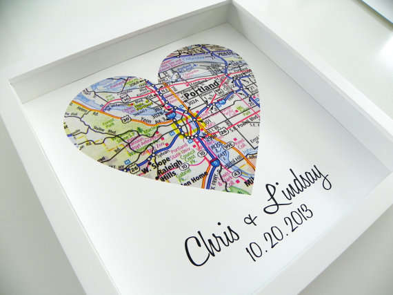 Personalized Typographic Love Maps Wedding Gifts