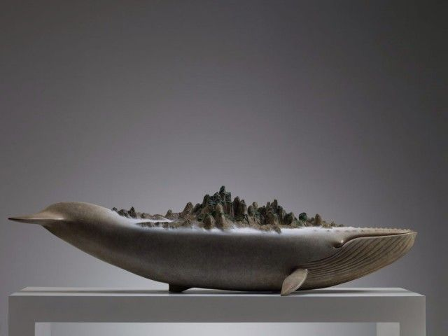 Surreal Whale Sculptures