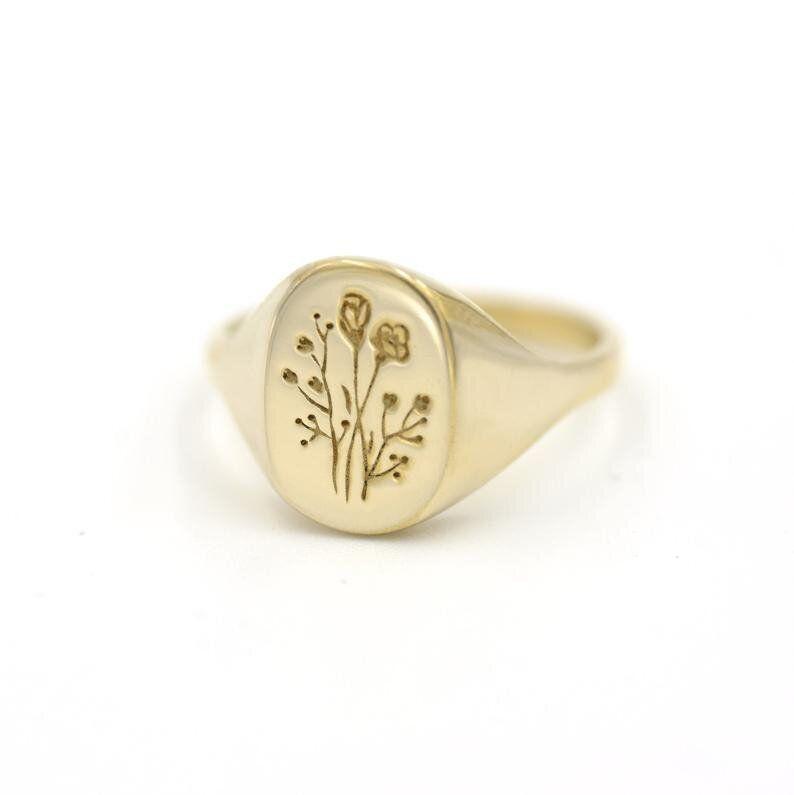Eco-Friendly Botanical Signet Rings