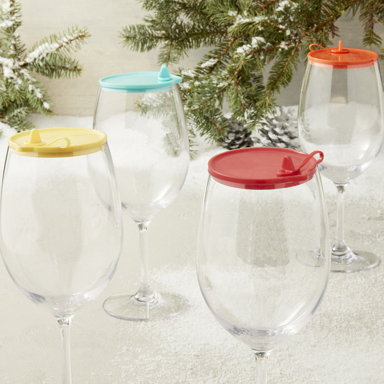 Spill-Stopping Wine Glass Lids