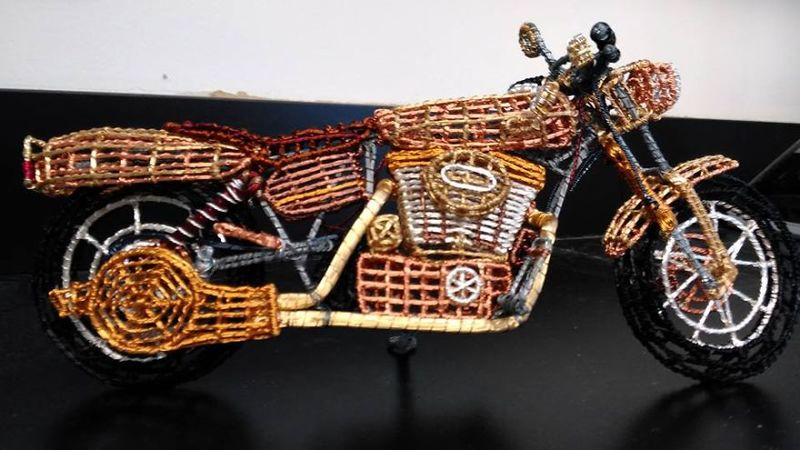 Wire Motorcycle Sculptures