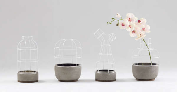 Caged Cement Flower Pots