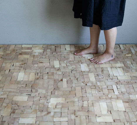 Repurposed lumber mosaics wood block floor for Eco floor