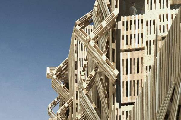 Stacked stick structures wood pallet facade by stephane - Construcciones con palets ...