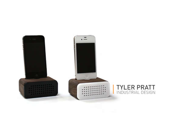 Sleek Wooden Phone Speakers