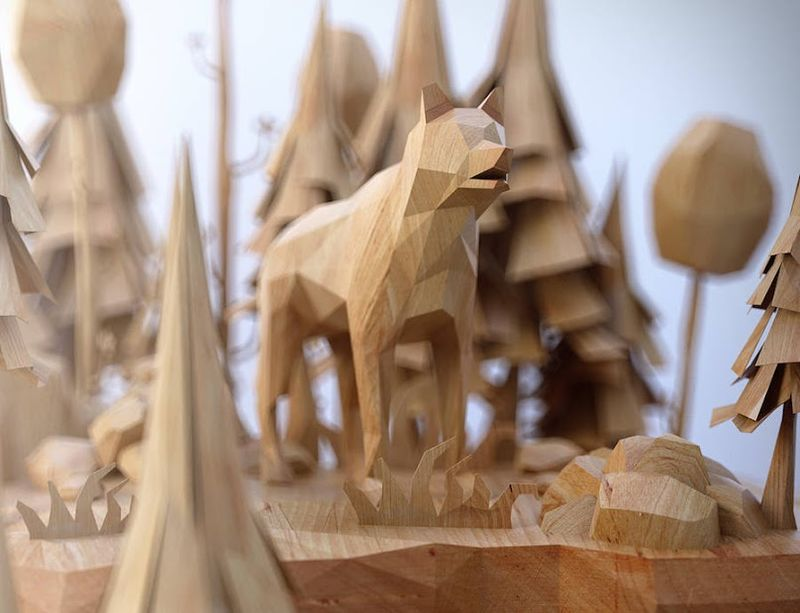 Modern Wooden Animal Sculptures