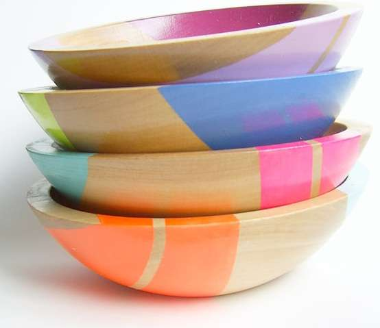 Vibrantly Striped Timber Dishes