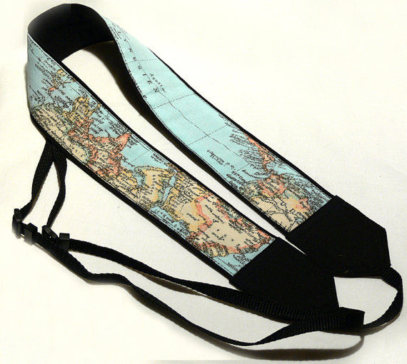 Topographical Electronic Straps : World Map Camera Strap