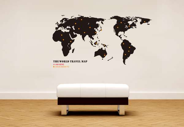 Globetrotting Home Decor World Map Wall Decals - World map wallpaper decal