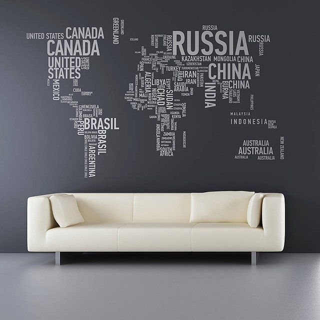 Typographic continental decals world wall stickers typographic continental decals gumiabroncs Images