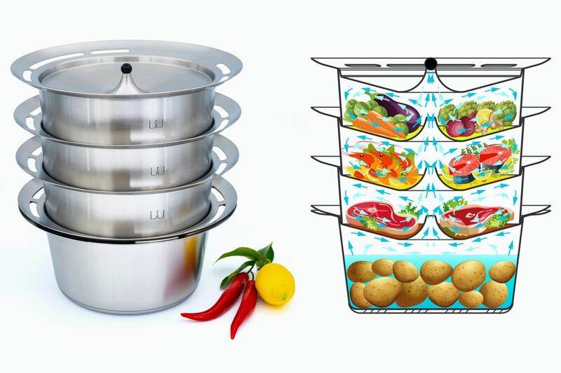 Stacking Food Preparation Steamers