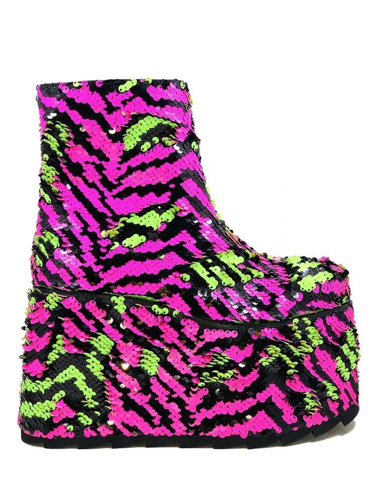 Vibrant Zebra Print Footwear